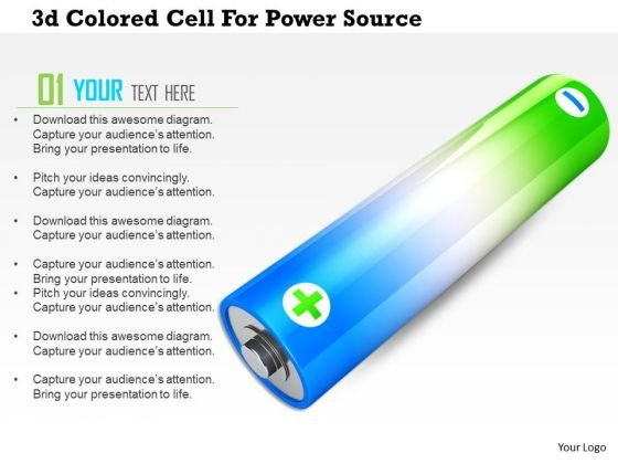 Stock Photo 3d Colored Cell For Power Source PowerPoint Slide
