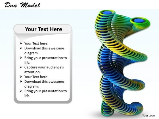 Stock Photo 3d Colored Dna Structure For Medical Science PowerPoint Slide