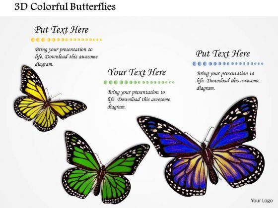 Stock Photo 3d Colorful Butterflies PowerPoint Slide