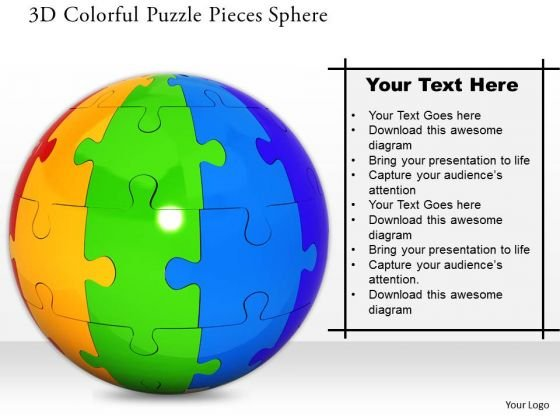 Stock Photo 3d Colorful Puzzle Pieces Sphere PowerPoint Slide
