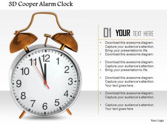 Stock Photo 3d Cooper Alarm Clock PowerPoint Slide