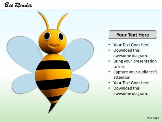 Stock Photo 3d Cute Bee PowerPoint Slide