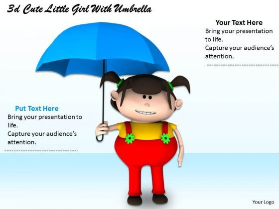 Stock Photo 3d Cute Girl With Umbrella PowerPoint Slide