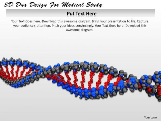 Stock Photo 3d Dna Design For Medical Study PowerPoint Template