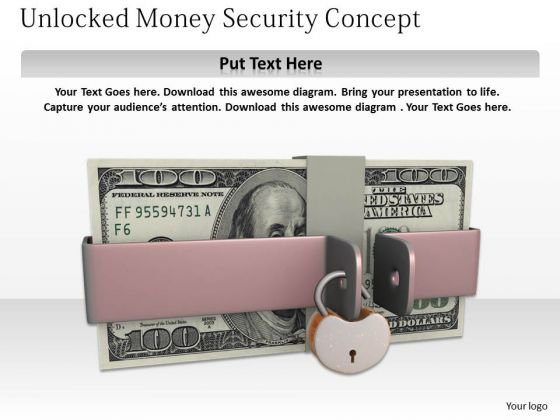 Stock Photo 3d Dollars Stack Unlocked Security Concept PowerPoint Slide
