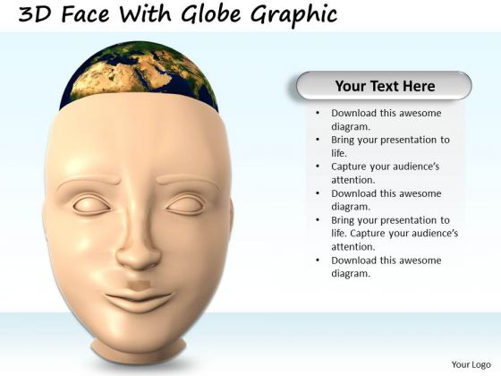 Stock Photo 3d Face With Globe Graphic PowerPoint Template
