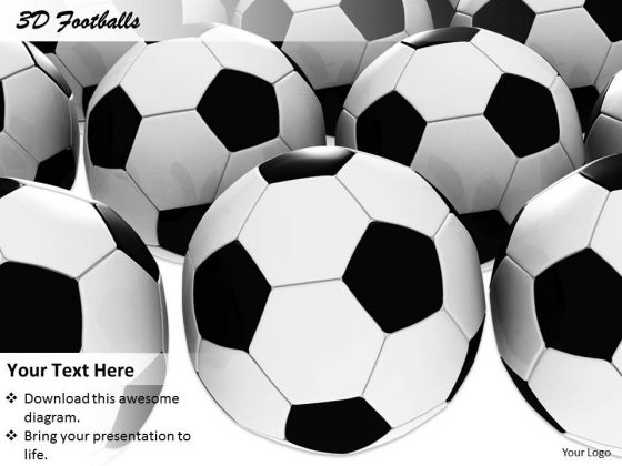 Stock Photo 3d Footballs Background For Games PowerPoint Slide