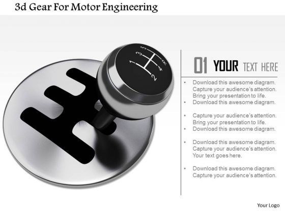 Stock Photo 3d Gear For Motor Engineering Image Graphics For PowerPoint Slide