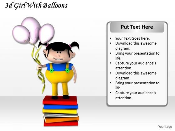 Stock Photo 3d Girl With Balloons And Books PowerPoint Slide