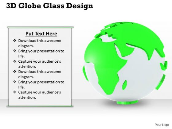 Stock Photo 3d Globe Glass Design PowerPoint Template