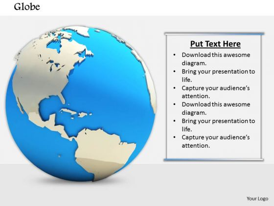 Stock Photo 3d Globe Graphic On White Background PowerPoint Slide