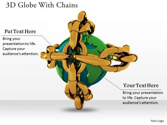 Stock Photo 3d Globe With Chains For Safety PowerPoint Slide