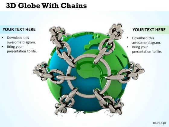 Stock Photo 3d Globe With Chains Global Safety PowerPoint Slide