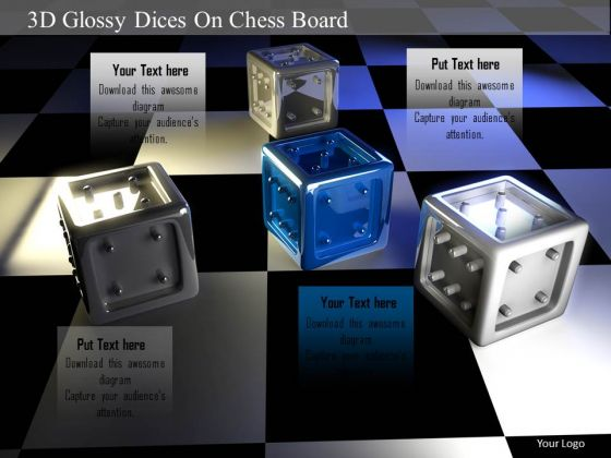 Stock Photo 3d Glossy Dices On Chess Board PowerPoint Slide