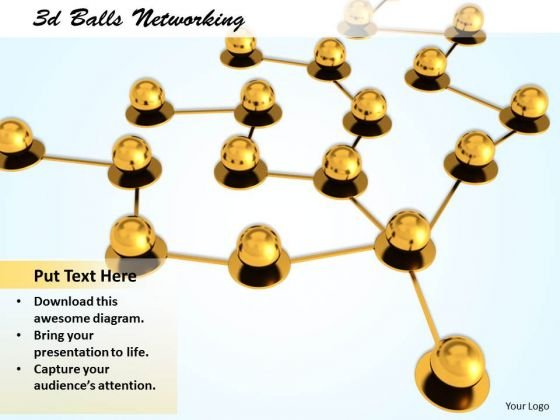 Stock Photo 3d Golden Balls Network PowerPoint Slide