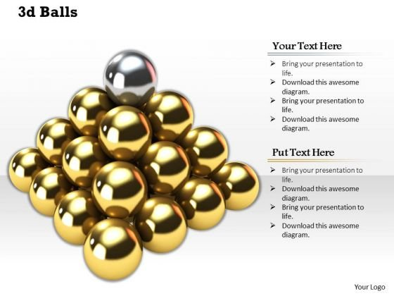 Stock Photo 3d Golden Balls With Silver Ball On Top Shows Leadership PowerPoint Slide