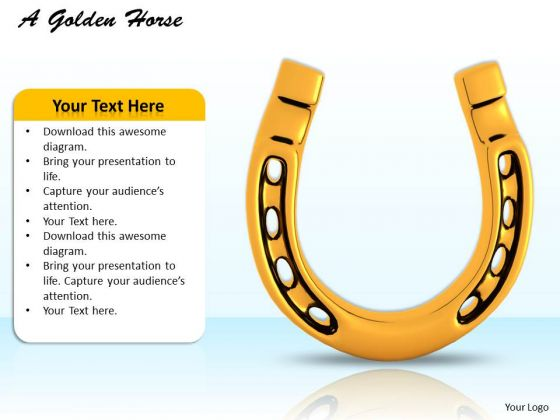 Stock Photo 3d Golden Horse Shoe For Good Luck PowerPoint Slide