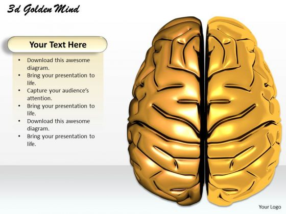 Stock Photo 3d Graphic Of Golden Mind Of Human PowerPoint Slide
