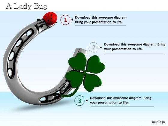 Stock Photo 3d Graphic Of Horse Shoe With Green Clover Leaf PowerPoint Slide