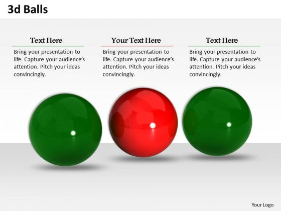 Stock Photo 3d Green And Red Balls PowerPoint Slide