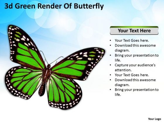 Stock Photo 3d Green Butterfly For Nature Theme PowerPoint Slide