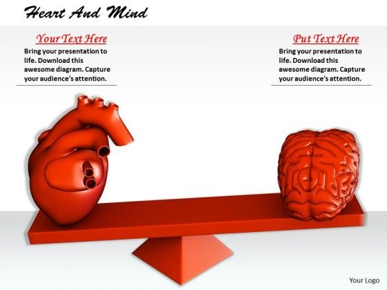 Stock Photo 3d Heart And Brain On Balancing Scale PowerPoint Slide