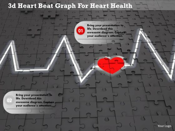 Stock Photo 3d Heart Beat Graph For Heart Health Image Graphics For PowerPoint Slide
