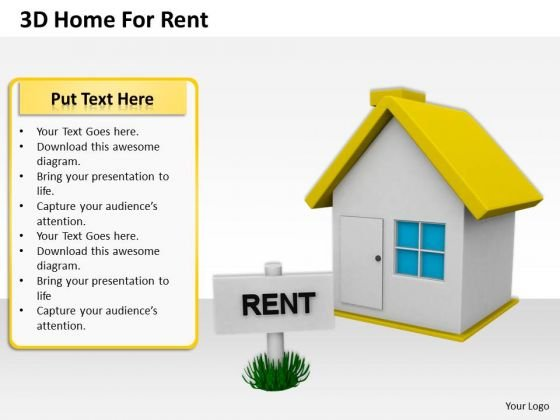 Stock Photo 3d Home For Rent PowerPoint Slide