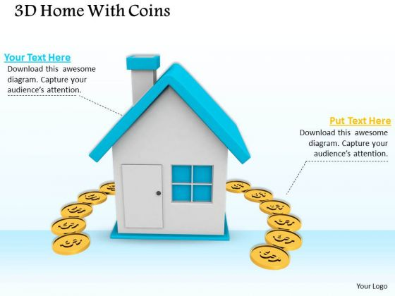 Stock Photo 3d Home With Coins Finance Concept PowerPoint Slide