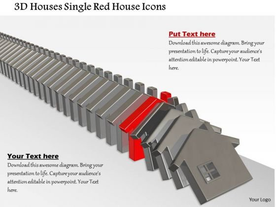 Stock Photo 3d Houses Single Red House Icons PowerPoint Slide