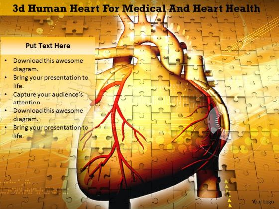 Stock Photo 3d Human Heart For Medical And Heart Health Image Graphics For PowerPoint Slide