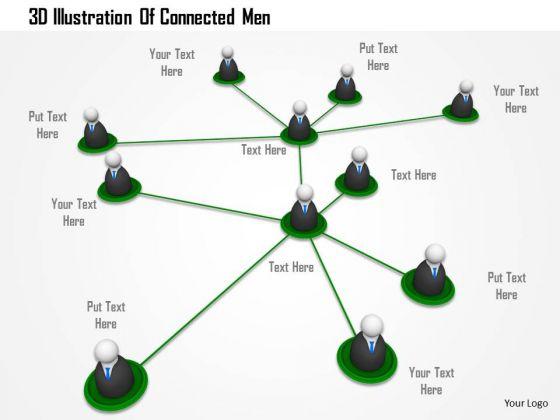 Stock Photo 3d Illustration Of Connected Men PowerPoint Slide