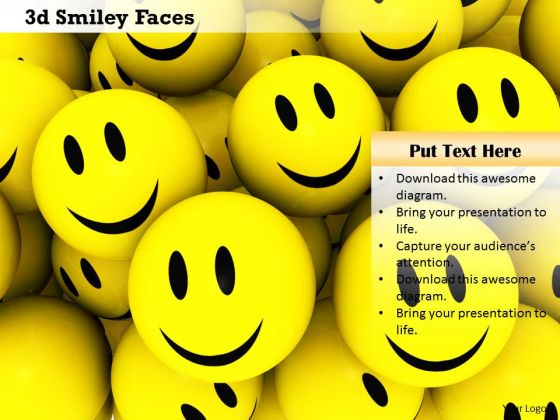 Stock Photo 3d Illustration Of Smiley Faces PowerPoint Slide
