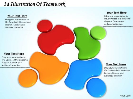 Stock Photo 3d Illustration Of Teamwork PowerPoint Template