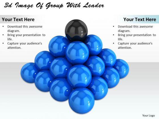 Stock Photo 3d Image Of Group With Leader PowerPoint Template