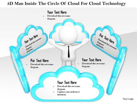 Stock Photo 3d Man Inside The Circle Of Cloud For Cloud Technology PowerPoint Slide