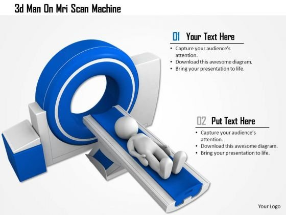 Stock Photo 3d Man On Mri Scan Machine PowerPoint Slide