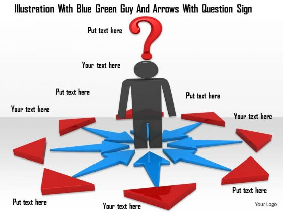 Stock Photo 3d Man Standing In Arrows With Question Mark PowerPoint Slide