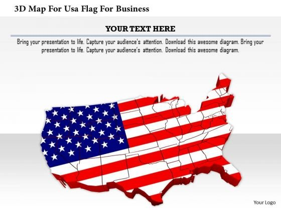 Stock Photo 3d Map For Usa Flag For Business PowerPoint Slide