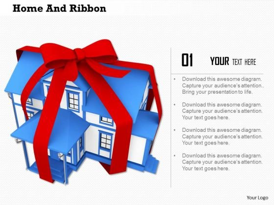 Stock Photo 3d Model Of House With Ribbon PowerPoint Slide