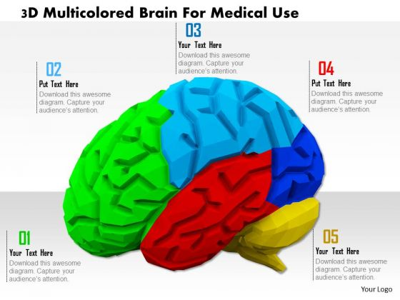 Stock Photo 3d Multicolored Brain For Medical Use PowerPoint Slide