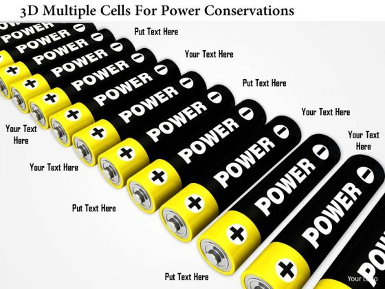 Stock Photo 3d Multiple Cells For Power Conservations PowerPoint Slide