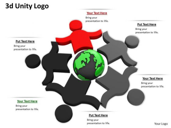 Stock Photo 3d People In Team Shows Unity PowerPoint Slide