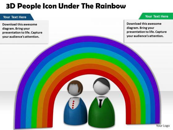 Stock Photo 3d People Under Rainbow PowerPoint Slide