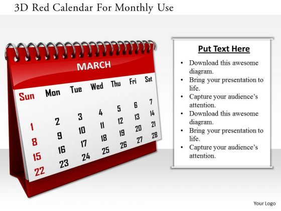 Stock Photo 3d Red Calendar For Monthly Use PowerPoint Slide