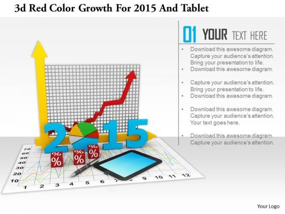 stock_photo_3d_red_color_growth_for_2015_and_tablet_powerpoint_slide_1