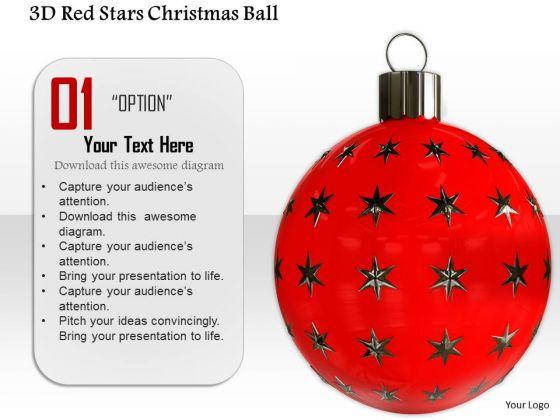 Stock Photo 3d Red Stars Christmas Ball PowerPoint Slide