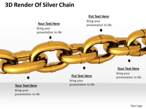 Stock Photo 3d Render Of Golden Chain PowerPoint Slide