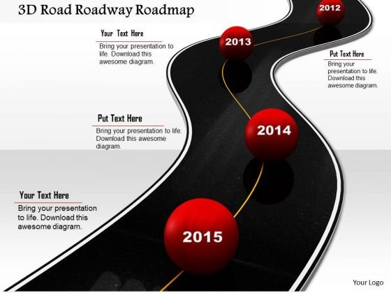 Stock Photo 3d Road Roadway Roadmap PowerPoint Slide