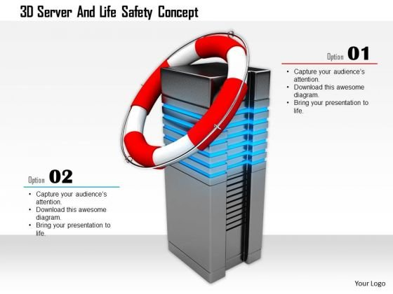 Stock Photo 3d Server And Life Safety Concept PowerPoint Slide